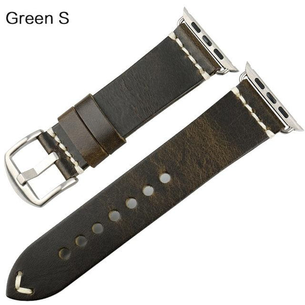 MAIKES Leather Strap Replacement For Apple Watch Band 44mm 40mm 42mm 38mm Series 4 3 2 iWatch Vintage Oil Wax Leather Watchband