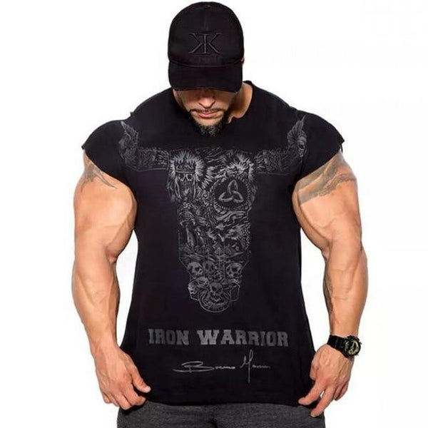Men Gyms Fitness Bodybuilding Slim T-shirt Man Casual Fashion OX Printed T shirts Male Workout Cotton Tee Tops Crossfit Clothing