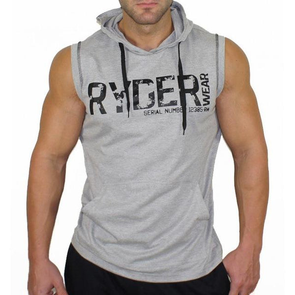 New Mens Bodybuilding Hooded Tank Tops Gyms Fitness Workout Sleeveless Hoodie Sweatshirt Male Fashion Casual Cotton Vest Clothing
