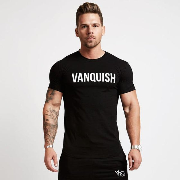 Mens Casual Fashion Cotton T-shirt Gyms Fitness Workout Short sleeve t shirt Male Slim Letter Printed Tees Tops Summer Clothing