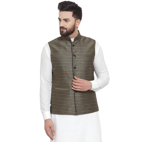 Treemoda New Designer Men Black And Golden Brocade Nehru Jacket For Men