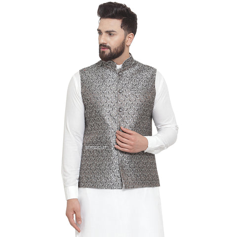 Treemoda New Designer Men Black And Grey Brocade Nehru Jacket For Men