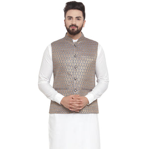 Treemoda New Designer Men Blue And Golden Brocade Nehru Jacket For Men
