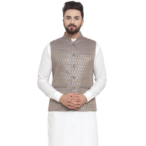 New Designer Men Blue And Golden Brocade Nehru Jacket By Treemoda