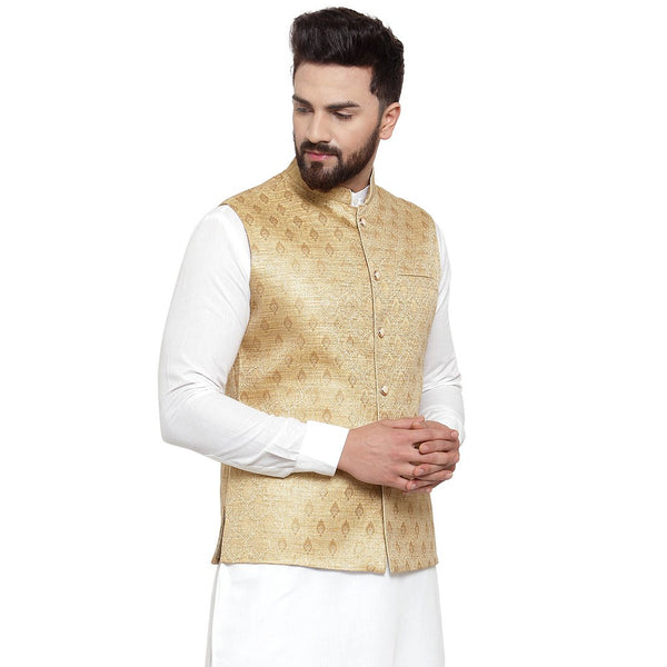 New Designer Men Golden Brocade Nehru Jacket By Treemoda