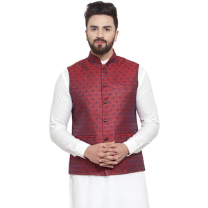 New Designer Men Maroon Brocade Nehru Jacket By Treemoda