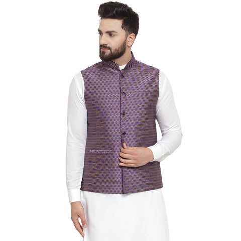 New Designer Men Violet Brocade Nehru Jacket By Treemoda