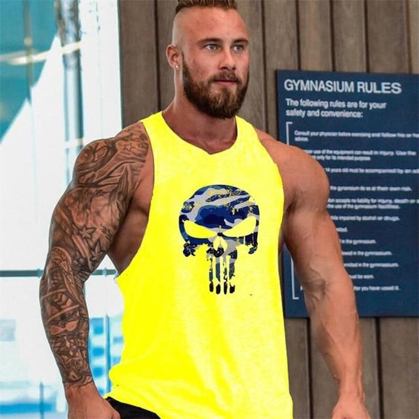 New Camouflage Skull Bodybuilding Fitness Stringer Men Tank Top Gold sports Running Vest Gym Muscle Undershirt Camo Print Tank