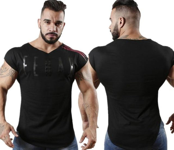 New Mens Casual Printed Cotton T-shirt Men Summer Gyms Fitness Workout Short sleeve O-Neck t shirts