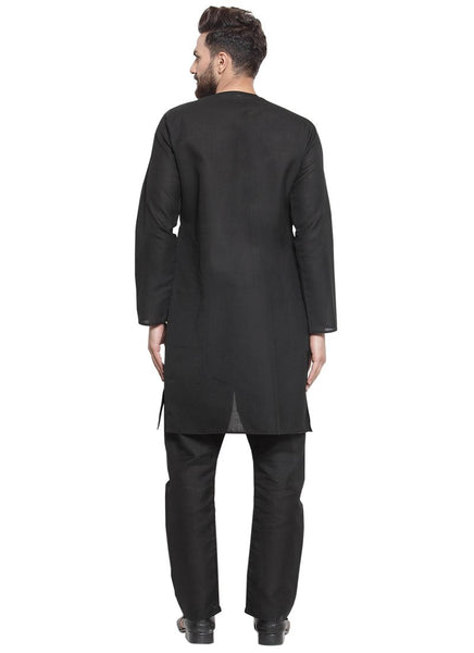 Black Kurta and Pajama for Men | Designer Full Sleeve Linen Kurta and Black Aligarh Pajama Set For Men