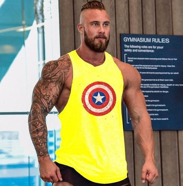 Skull Gym Men's Muscle Sleeveless Tank Top Tee Shirt Bodybuilding Sport Fitness Quick Dry Vest