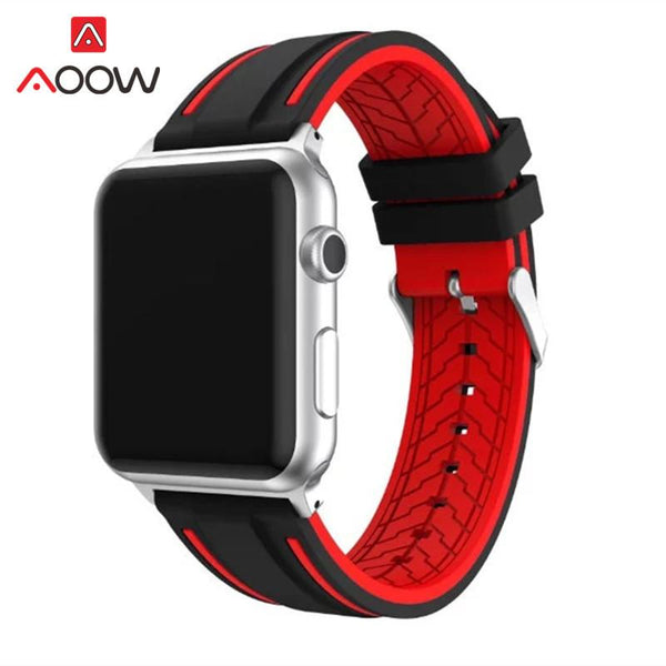 Soft Silicone Watchband For Apple Watch 38mm 42mm Fashion Double Color Sport Replacement Bracelet Strap Band for iwatch 1 2 3 4