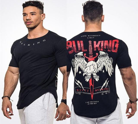Men Short Sleeve Cotton Fashion Casual Printed Gyms T-shirts