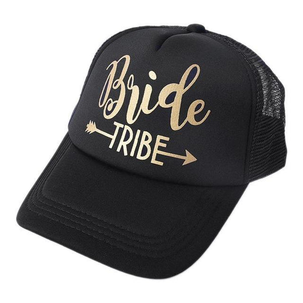 Team Bride Tribe Snapback Trucker Mesh Hat Gold Letters Arrow Printed Wedding Party Baseball Cap Club Gift