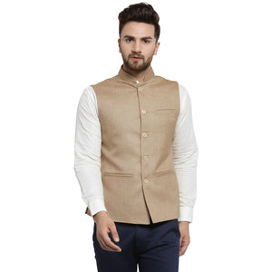 Treemoda Biscuit Color Nehru jacket For Men Stylish Latest Design Suitable for Ethnic Wear/Wedding Wear/ Formal Wear/Casual Wear