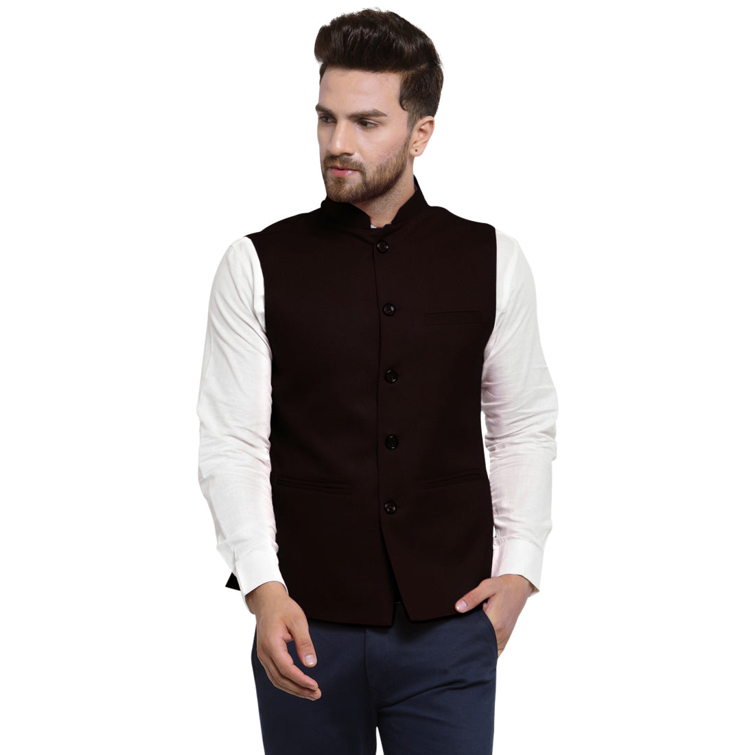 Treemoda Dark Brown Nehru jacket For Men Stylish Latest Design Suitable for Ethnic Wear/Wedding Wear/ Formal Wear/Casual Wear