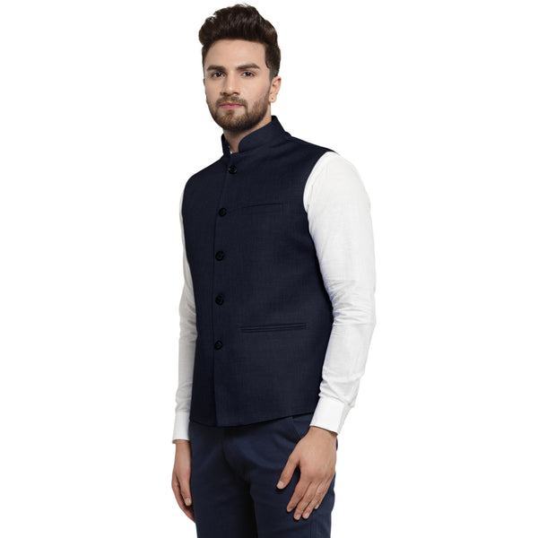 Treemoda Ink Blue Nehru jacket For Men Stylish Latest Design Suitable for Ethnic Wear/Wedding Wear/ Formal Wear/Casual Wear