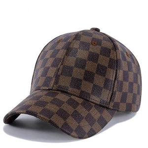 Men Classic Lattice Baseball cap High Quality  PU Retro Women Bone Snapback Caps Outdoors Sports Sun Hat