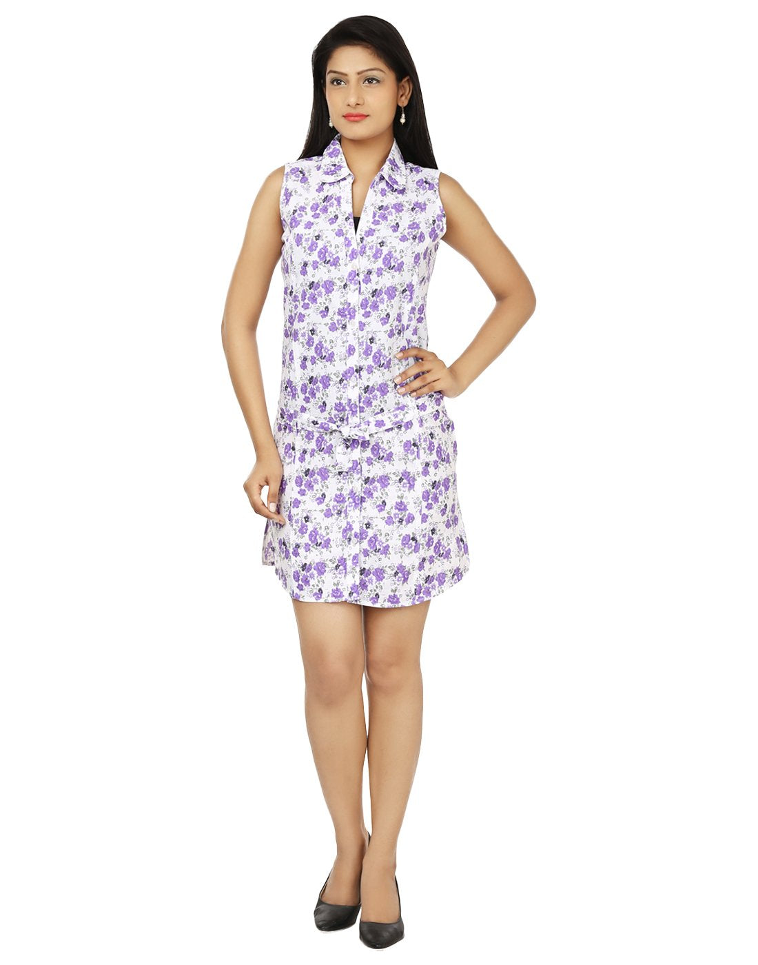 The Women Casual Dress Wht-Prpl.