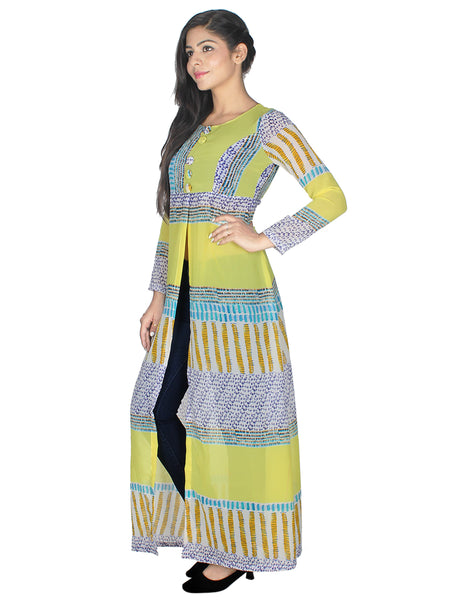 Women Printed Georgette Frontslit Kurta  (Lemon)
