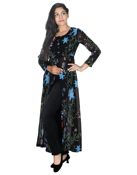 Women Printed Georgette Frontslit Kurta  (Blue and Black)