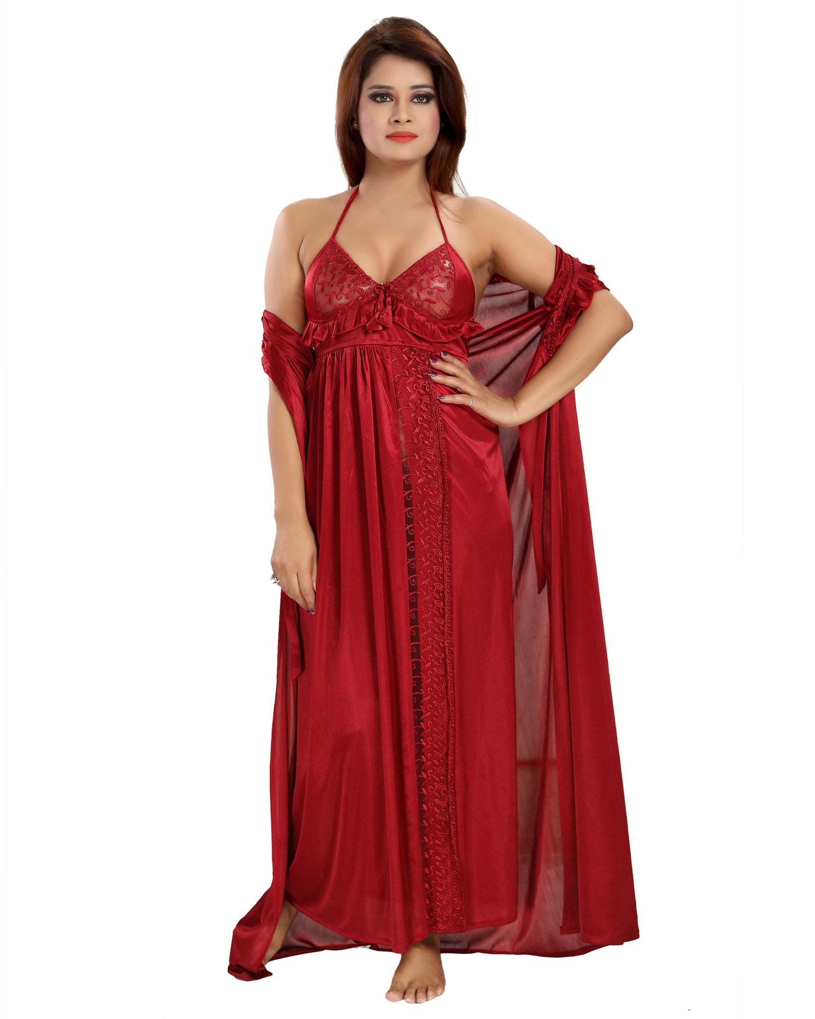 Women's Stain Full Length Night Gown(Maroon)