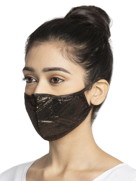 Black and Brown With Sparkling Glitter Sequin Women Fashion Reusable Face Mask (Pack of 2)
