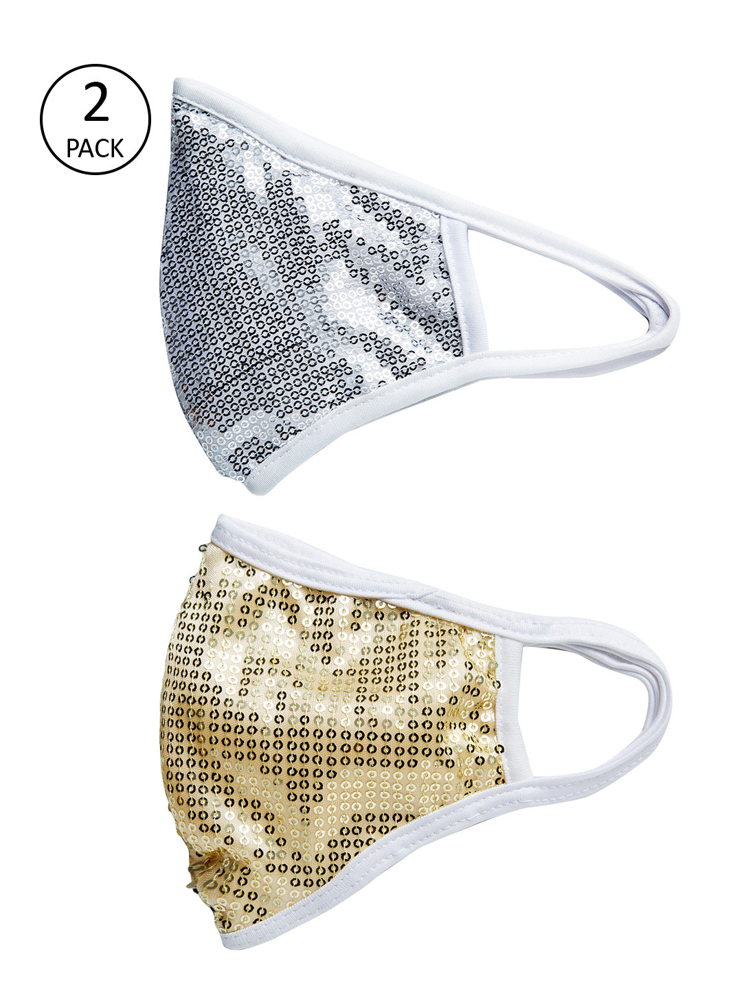 Silver and Gold With Sparkling Glitter Sequin Women Fashion Reusable Face Mask (Pack of 2)
