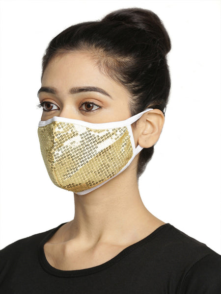 Golden and Black With Sparkling Glitter Sequin Women Fashion Reusable Face Mask (Pack of 2)