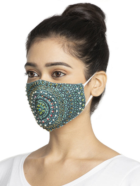Embroidery Design With Sparkling Glitter Sequin Women Fashion Reusable Face Mask (Pack of 2)