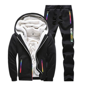 d2345259e37 Winter Tracksuit Men Set Sporting Two Pieces Sweatsuit Mens Clothes Printed  Thick Hooded Hoodies Jacket +
