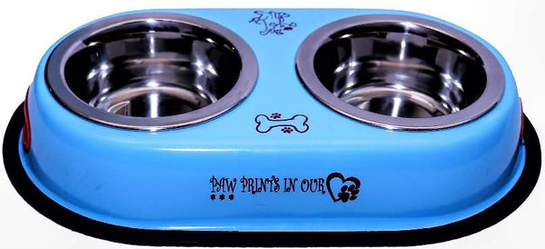 Blue Colored Printed Dogs Double Diner Box Feeding Set With 900ml X 2 Bowls