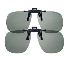 2 Pair Black Bullet Gray Polarized Clip On - 1571K