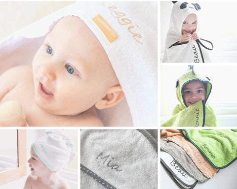 personalised hooded towel for baby or child