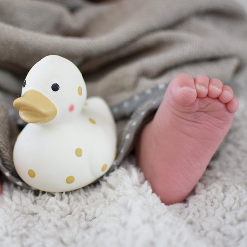 multi-award winning Cuddleduck natural rubber teether bath toy