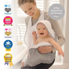 Load image into Gallery viewer, award winning Cuddledry bamboo apron style baby bath towel with hood grey stars