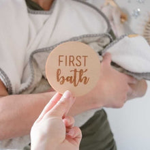 Load image into Gallery viewer, babys first bath milestone wooden plaque for photos