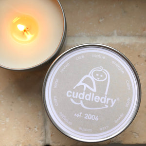 Candle in a tin by Cuddledry new baby gift newborn parents caring