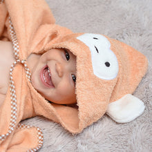 Load image into Gallery viewer, monkey character hooded bath towel for swimming age 1, age 2, age 3