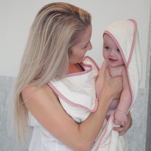 Load image into Gallery viewer, Pink edge Cuddledry handsfree baby apron bath towel