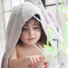Load image into Gallery viewer, bunny rabbit towel with ears and tail for age 1, age 2. age 3 made with bamboo