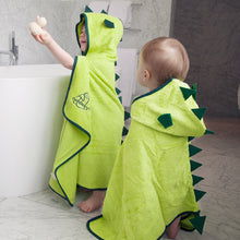 Load image into Gallery viewer, dinosaur character bamboo hooded bath towel for age 1, age 2, age 3, age 4, age 5, age 6