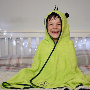 fun dinosaur character towel made with bamboo