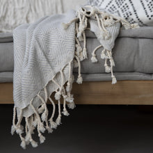 Load image into Gallery viewer, turkish hammam towel recycled material cuddledry grey soft throw