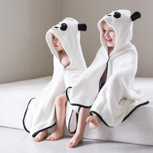 Load image into Gallery viewer, panda character bamboo hooded bath towel with ears