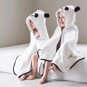 panda character bamboo hooded bath towel with ears