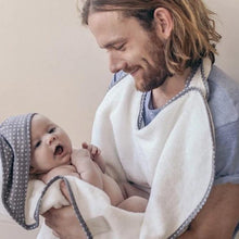 Load image into Gallery viewer, NEW! Cuddledry 'Hands-free' baby towel white with grey star hood