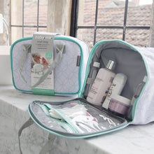 Load image into Gallery viewer, organiser wash bag with colour coded sections to keep toiletries separate