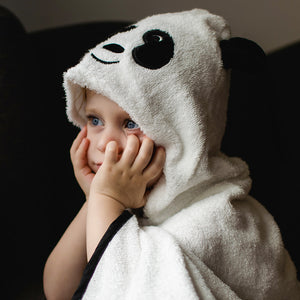 panda character hooded bath towel for toddlers made with bamboo