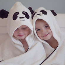 Load image into Gallery viewer, panda character bamboo hooded towel bathtime swimming toddler child age 1, age 2, age 3, age 4, age 5, age 6